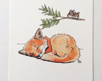 Fox print art woodland nursery decor woodland animals childrens wall art pen and ink illustration baby fox