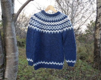 Ready to ship.M.  Handmade in Iceland. Blue with light blue and white pattern.