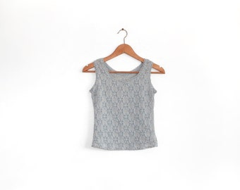 Vintage baby blue lace super stretchy tank top