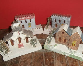 Vintage Christmas large putz houses village made in Japan set 4 in mica glitter cardboard railroad display