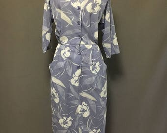 1950s Hawaiian Dress / Floral Print Dress