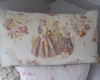 Vintage crinoline ladies print cushion pillow c1930s