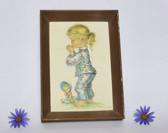 Vintage Contanza Big Eye Picture ~ Framed Print ~ 1950s- 1960s Kitsch Decor ~ Nursery ~ Retro Illustration ~ Baby ~ Little Girl Gift Idea