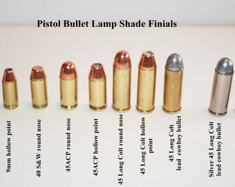 Unique Lamp Shade Finials made from real Pistol Bullets