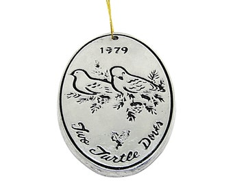 Rare Two Turle Doves Ornament part of  Wilton Armetale Twelve Days of Christmas Ornament Collection   Vintage Christmas Tree Trimming Mom