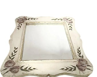 Shabby Cottage Chic Large Mirror Vintage Hand Painted Wooden Mirror Roses Mirror White Bathroom Wall Hanging Mirrors Vintage Home Decor