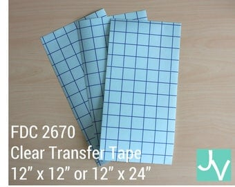 "Clear Blue Grid Transfer Tape / Transfer Paper / Application Tape FDC 2670 - 1 Sheet of 12"" x 12"" or 12"" x 24"""
