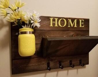 Rustic Mail Holder,Home Decor, key Rack,Home Sign, Mail Organizer, Key Holder,  Home sign,House warming, Hostess gift, Farmhouse decor