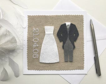 Wedding Date Personalised Card - Bride and Groom Card - Congratulations Marriage Card - Wedding Date Card - Wedding Gift - Personalised