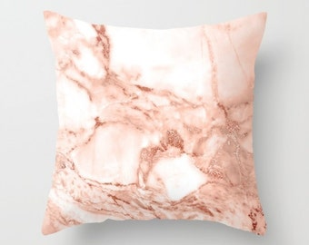 Marble Pillow, Velvet Cushion, Rose Gold, Velvet Pillow Cover, Rose Gold Cushion Cover, Lumbar, Square, 18x18, 22x22, Gifts for Her, Pink