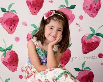 Children Photography Backdrop, Newborns Baby Watercolor painting Strawberry Photoshoot Background,Studio Vinyl Photography Backdrops D-6444