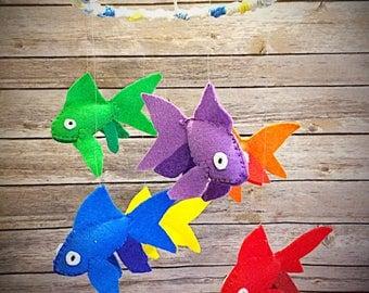 Baby Mobile / felt rainbow gold fish