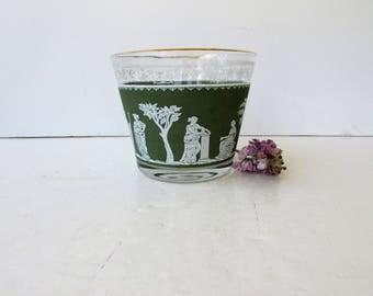 Vintage Barware - Jeanette Glass Hellenic Green Pattern - Ice Bucket - Mid Century Modern Glassware - Retro Barware - Greek Design Wedgewood