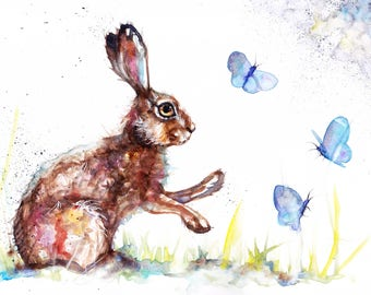 Original Watercolour Hare and Butterflies Print by Artist Be Coventry Wildlife Animal Art