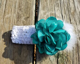 Girls Accessories, Teal Flower Headband. Flower Headband. Flower Girl, Baby Headband, Hair Accessories, Photo Prop, Girls Headband, Easter
