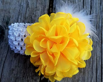 Girls Accessories, Yellow Flower Headband. Flower Headband. Flower Girl, Baby Headband, Hair Accessories, Photo Prop, Girls Headband, Easter