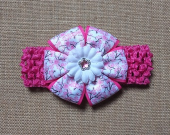Baby Girl Headband, Cherry Headband, Flower Headband, Pink Headband, Baby Hair Accessory, Infant Headband, Cherry Blossom Bow, Baby Headband