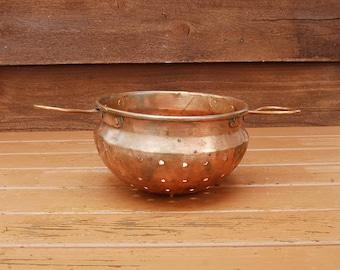 Copper Colander, Vintage Hammered Copper Strainer, Vintage Berry Colander, Copper Pasta Sieve, Copper Streamer
