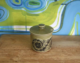 Vintage, 1970s Retro- sugar bowl green glaze made in japan