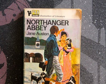 """A striking 1960s Pan paperback edition of Jane Austen's  classic """"NorthHanger Abbey"""""""