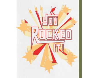 Letterpress Graduation Card, Congratulations, Rocked It, Guitar, 70s Rock, Glam, Promotion New Job, Retro, Red Orange, Yellow Green