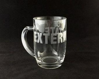 Hand-etched Glass Mug (EXTERMINATE)