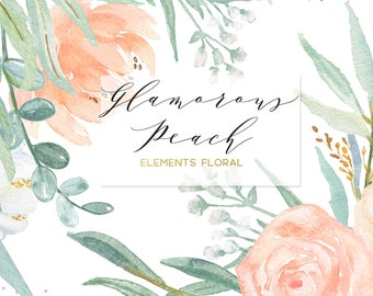 Blush pink, peach and mint green palette Digital clipart. Soft pink elements floral. Wedding invitations. Peonies, roses eucalyptus
