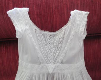 Victorian/Edwardian Ayrshire and Broderie Anglaise White Cotton Batiste Christening Gown  #17097