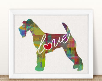 Airedale Terrier Love - A Colorful Watercolor Print - Gift for Dog Lovers - Pet Artwork - Pet Loss Gift - Memorial - Can be Personalized