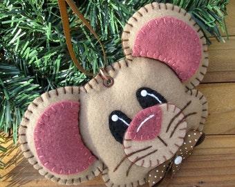Wool Felt Mouse Ornament Hanger In Tan