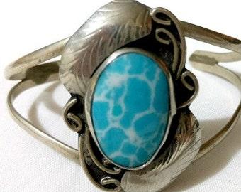 Turquoise Silver Bracelet Unique Design