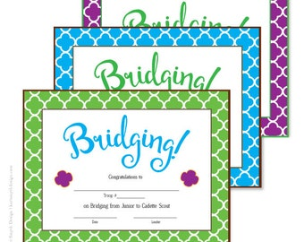Girl Scout Quadrafoil Bridging Certificates: Printable Download. Available in 3 colors