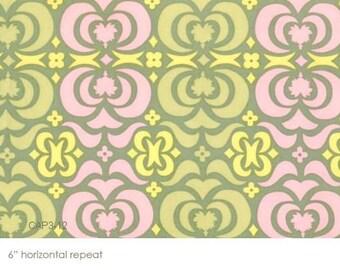 Half Yard - Garden Maze in Sand , Midwest Modern, Amy Butler, quilting cotton, , Rowen Fabrics, Quilting Cotton, Pink, Olive Grey, Yellow