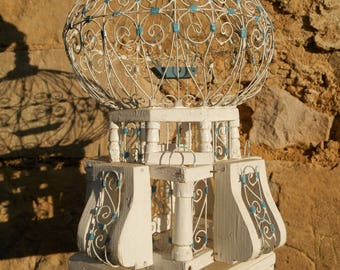 Vintage French Wooden Bird Cage. Wood Bird Cage Mediterranean Decor. Romantic Birdcage. Turquoise White Country Cottage Jeanne D'arc