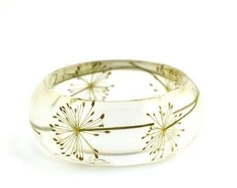 Pressed dill flowers bracelet - Real flowers bangle bracelet - botanical bangle - all size