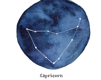 CAPRICORN Constellation Zodiac Greeting Card Birthday Card Astronomy Stars