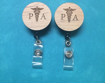 PA, Physician Assistant, Wood-Engraved Badge Reel