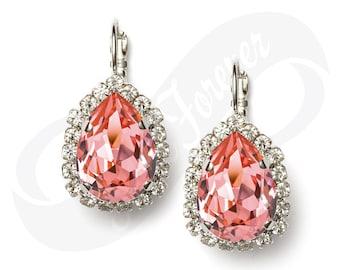 Bridesmaid Earrings Peach Rose Earrings Peach Earrings Leverback Rhinestone Earrings Bridal Jewelry Wedding Earrings Bridesmaid Gift