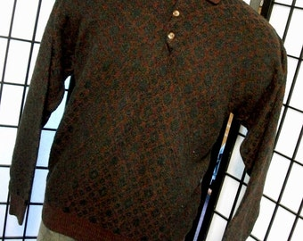 Jantzen men's brown/green heavy polo collared sweater large l