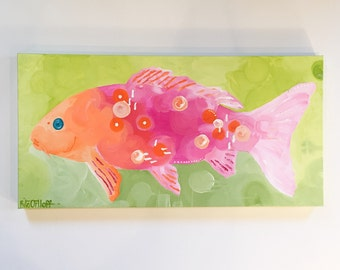 """Original abstract painting by Rita Ortloff 12""""x 24""""x2"""" - """"Bubble Guppy"""""""