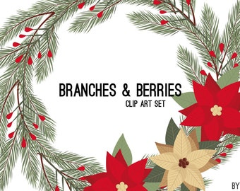 Christmas Clipart Branches Berry Flower Wreath Green Red Holiday Commercial Use Graphics Digital Clip Art Digital Images PNG