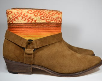 LEATHER ETHNIC BOOTS, Size 40, Camel Boots, Ethnic Boots, Spanish Boots