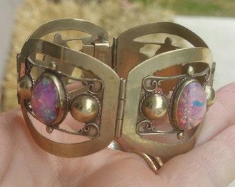 Vintage Mexico glass panel bracelet