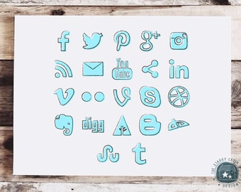 Hand Drawn Social Media Icons - Instant Download - Blue - Powder - Pastel - Light - Sketchy - Blog Icons