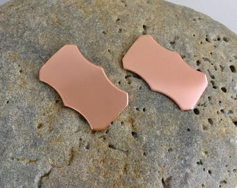 Copper scalloped rectangles plaques 1mm thick measuring 38mm x 28mm.