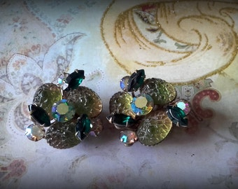 Vintage 50's Beaujewels rhinestone shades of green crystal and glass flower clip earrings