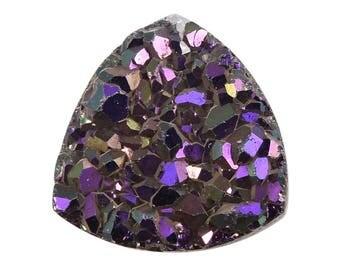 Purple Drusy Quartz Loose Gemstone Trillion Cabochon 1A Quality 7mm TGW 0.65 cts.