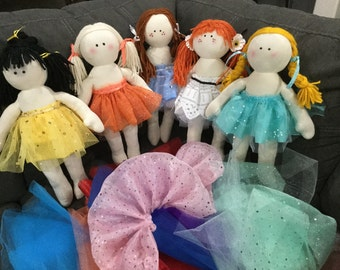 "18"" muslin dolls with yarn hair and handmade tutu"