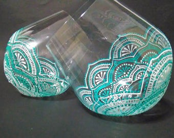 Hand painted wine glasses, Hand painted stemless wine glasses, stemless wine glasses, decorative wine glasses