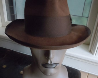 Size 6 3/4 ** High-end 1940s Brown Fur Stetson Fedora